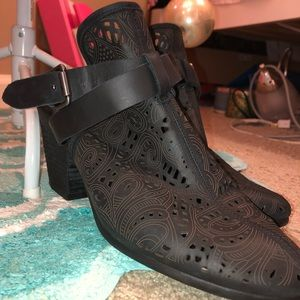 Closed toe open back boots